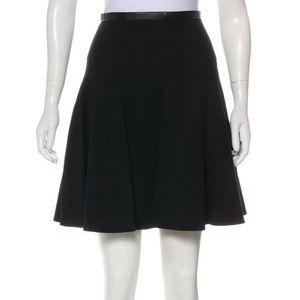 Jason Wu Leather Trimmed Black Mini Skater Skirt